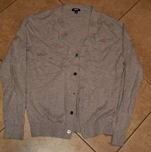 Sweaters - Gray Button Cardigan
